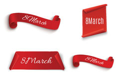 8 March. Happy Women`s day, greeting card template. Red, curved, Royalty Free Stock Photos
