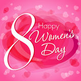 8 March Happy Women`s Day hearts greeting card template. Happy Women`s Day lettering 8 March on pink hearts background Royalty Free Stock Photos