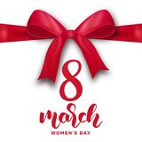March 8, Happy Women`s Day. Holiday greeting card with gift ribbon bow and script lettering 8 March.  Stock Illustration