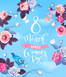 8 March. Happy Women`s Day party invitation. Gorgeous hand lettering surrounded by roses, butterflies and bird sitting. On stalk against blue spring sky and Royalty Free Stock Image