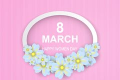 8 March. Happy Women`s Day. pink-white Paper cut Floral Greeting. Card.vector illustration vector illustration