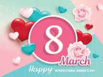 International Women`s Day. March 8, Happy Women`s Day poster design with 3D hearts, roses and abstract background Stock Images