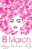 8 March. Happy Women`s Day poster with flowers. International women`s day. 8 March. Happy Women`s Day poster with flowers. International women`s day for your stock illustration