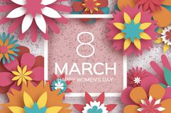 8 March. Happy Women s Day. Red Paper cut Floral Greeting card. Origami flower.Square Frame, space for text. Happy. Mother s Day. Text. Spring blossom. Seasonal Royalty Free Stock Photos