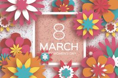 8 March. Happy Women`s Day. Red Paper cut Floral Greeting card. Origami flower.Square Frame, space for text. Happy. 8 March. Happy Women`s Day. Red Paper cut Stock Photos