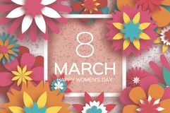 8 March. Happy Women`s Day. Red Paper cut Floral Greeting. Card. Origami flower .Square Ribbon Frame, text. Happy Mother`s Day. Text. Spring blossom. Seasonal Royalty Free Stock Photo
