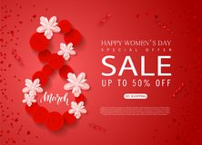 8 March - Happy Women s Day sale banner. Beautiful Background with flowers and serpentine. Vector illustration for. Website , posters, ads, coupons, promotional Stock Photo