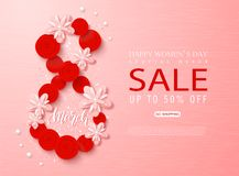 8 March - Happy Women s Day sale banner. Beautiful Background with flowers and serpentine. Vector illustration for. Website , posters, ads, coupons, promotional vector illustration