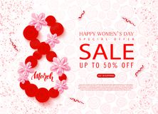8 March - Happy Women s Day sale banner. Beautiful Background with flowers and serpentine. Vector illustration for. Website , posters, ads, coupons, promotional Stock Photography