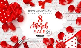 8 March Happy Women`s Day sale banner. Beautiful Background with gift boxes in heart shape, rose petals,lipstick,bows. And serpentine. Vector Illustration vector illustration
