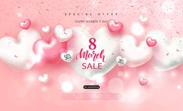 8 march Happy Women`s day sale banner. Beautiful Background with hearts. Vector illustration for website , posters, ads. Coupons, promotional material Stock Images
