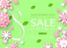 8 March Happy Women`s Day sale banner. Beautiful Background with paper flowers. Vector illustration for website. Posters, email and newsletter designs, ads royalty free illustration