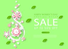 8 March Happy Women`s Day sale banner. Beautiful Background with paper flowers. Vector illustration for website. Posters, email and newsletter designs, ads vector illustration