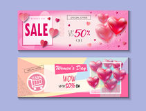 Womans day Sale banners set. 8 March. Happy Women`s Day, Mothers Day, Valenyines Day, Wedding day. Sale Discount banners set for Happy Women`s Day, Eighth March Stock Photos
