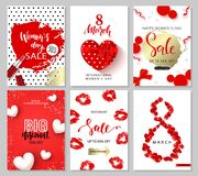 8 March - Happy Women`s Day. Set of sale banners.Vector illustrations of mobile website banners, posters, ads, coupons. 8 March - Happy Women`s Day. Set of sale Stock Images