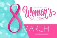 8 march, Happy Women`s Day special offer banner with hand drawn lettering for holiday shopping. 8 march, Happy Women`s Day special offer banner with hand drawn Stock Photography