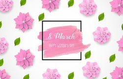 8 March - happy women s day. Spring blue background with beautiful colorful flower. Vector. Illustration Royalty Free Stock Photo