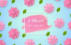 8 March - happy women s day. Spring blue background with beautiful colorful flower. Vector. Illustration Stock Photography