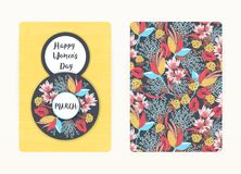 8 march. Happy Women`s Day. Spring holiday. Card design with floral pattern. Creative hand drawn colorful flowers. 8 march. Happy Women`s Day. Spring holiday Vector Illustration