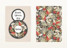 8 march. Happy Women`s Day. Spring holiday. Card design with floral pattern. Creative hand drawn colorful flowers. 8 march. Happy Women`s Day. Spring holiday Stock Illustration