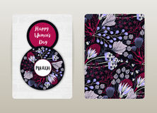 8 march. Happy Women`s Day. Spring holiday. Card design with floral pattern. Hand drawn creative flowers Stock Photos