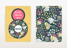 8 march. Happy Women`s Day. Spring holiday. Card design with floral pattern. Hand drawn creative flowers Royalty Free Stock Photo