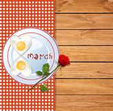 8 march happy women`s day template with number eight shaped omel. Ette on plate with ketchup letters and red rose on wooden background with red tablecloth and vector illustration