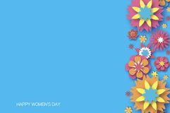 8 March. Happy Women s Day. Trendy Mother s Day. Paper cut Floral Greeting card. Origami flower. Space for Text. Spring. Blossom on sky blue. Seasonal holiday Stock Illustration