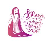 8 march. Happy Women`s Day. Girl with long hair. 8 march. Happy Women`s Day. Vector illustration. Girl with long hair vector illustration