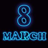 March 8. Happy Women`s Day. Vector illustration. Neon banner vector illustration