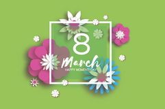 8 March. Happy Women`s Mother`s Day. Floral Greeting Card. Paper cut Flowers. Origami flower. Square frame. Text. Eight Stock Images