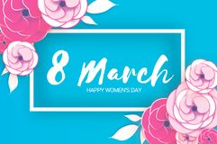 8 March. Happy Women`s Mother`s Day. Floral Greeting Card. Paper cut Rose Flowers. Origami Daisy flower. rectangle Stock Photo