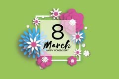 8 March. Happy Women`s Mother`s Day. Floral Greeting Card. Paper cut Flowers. Origami flower. Square frame. Text. Eight Royalty Free Stock Photos