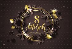 8 March Happy Womens Day - banner. Beautiful Background with flowers and gold leaves. Vector Illustration. 8 March Happy Womens Day - banner. Beautiful Royalty Free Stock Images