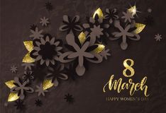 8 March Happy Womens Day - banner. Beautiful Background with flowers and gold leaves. Vector Illustration. 8 March Happy Womens Day - banner. Beautiful stock illustration