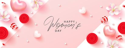 8 March Happy Womens Day banner. Beautiful Background with flowers, serpentine,hearts and gift boxes. Vector. Illustration for postcards,posters, coupons vector illustration