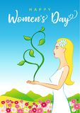 8 March Happy Womens Day beautiful woman greeting card. Happy Womens Day 8 March, beautiful woman greeting card. Vector illustration for the International Women` stock illustration