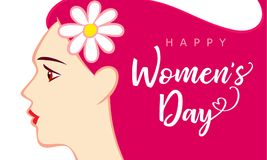 8 March Happy Womens Day beautiful woman pink greeting card. 8 March, Happy Womens Day beautiful woman pink greeting card. Vector illustration for the Stock Photo