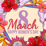 March 8, happy womens day, colorful greeting card with flowers. March 8, happy women day, colorful greeting card with flowers in sketch style, template ready for royalty free illustration
