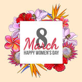 March 8, happy womens day, colorful greeting card with flowers. March 8, happy women day, colorful greeting card with flowers in sketch style, template ready for vector illustration