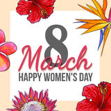March 8, happy womens day, colorful greeting card with flowers. March 8, happy women day, colorful greeting card with flowers in sketch style, template ready for Royalty Free Stock Photo