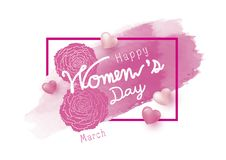 8 march happy womens day design. Of carnation flower and pink watercolor brush with heart on white background vector illustration royalty free illustration