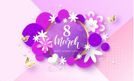 8 March Happy Womens Day Festive Card. Beautiful Background with flowers and butterflies. Vector Illustration. 8 March Happy Womens Day Festive Card. Beautiful Royalty Free Stock Photos
