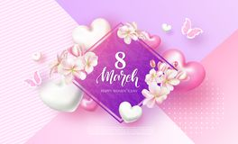 8 March Happy Womens Day Festive Card. Beautiful Background with flowers, hearts and butterflies. Vector Illustration. 8 March Happy Womens Day Festive Card Stock Photography