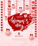 8 March Happy Womens Day Festive Card. Beautiful Background with garland of hearts and bows. Vector illustration for website , pos. Ters, ads, coupons Royalty Free Stock Images