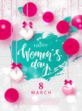 8 March Happy Womens Day Festive Card. Beautiful Background with garland of hearts, flowers and bows. Vector illustration for webs. Ite , posters, ads, coupons Stock Photos