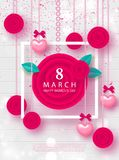 8 March Happy Womens Day Festive Card. Beautiful Background with garland of hearts, flowers and bows. Vector illustration for webs. Ite , posters, ads, coupons Stock Photo