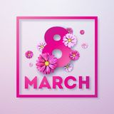 8 March. Happy Womens Day Floral Greeting card. International Holiday Illustration with Flower Design on Pink Background. Vector Spring Template Royalty Free Stock Image