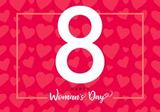 8 March Happy Womens day hearts pink banner. Invitation flyer for the International Women`s Day with text 8 March on hearts in frame stock illustration