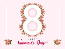 8 March Happy Womens day rose flower banner. Invitation flyer for the International Women`s Day with text 8 March on roses in frame Stock Photos